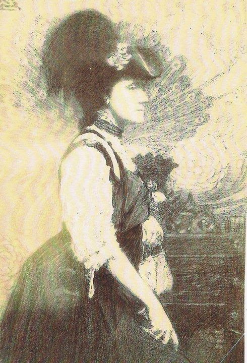 Sally James Farnham sketch by her cousin Charles Chapman